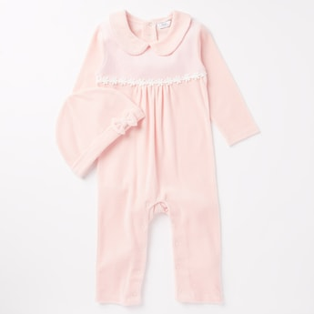 Textured Full Length Sleepsuit with Beanie Cap