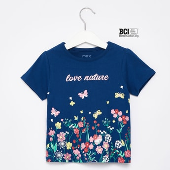 Floral Print T-shirt with Round Neck and Short Sleeves