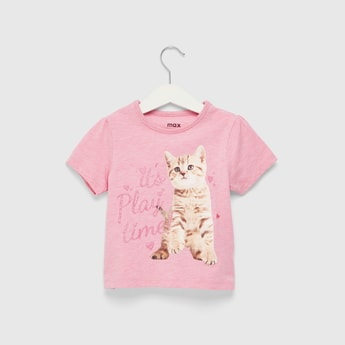 Glitter Detail Graphic Print T-shirt with Round Neck and Short Sleeves