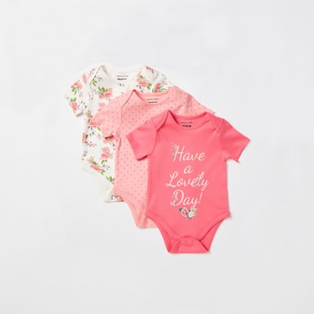 Pack of 3 - Printed Bodysuits with Short Sleeves and Button Closure