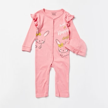 Bunny Print Open Feet Sleepsuit with Long Sleeves and Cap