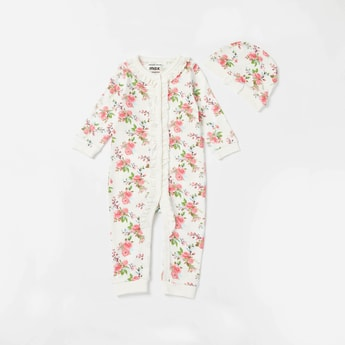 All-Over Floral Print Long Sleeves Sleepsuit with Cap