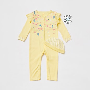 Floral Print Long Sleeves Sleepsuit with Striped Cap