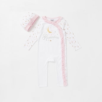 Printed 2-Piece Ruffled Full Length Sleepsuit and Cap Set