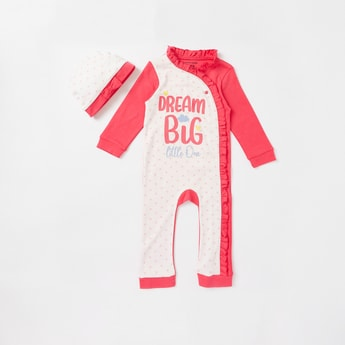 Printed 2-Piece Frill Detail Full Length Sleepsuit and Cap Set