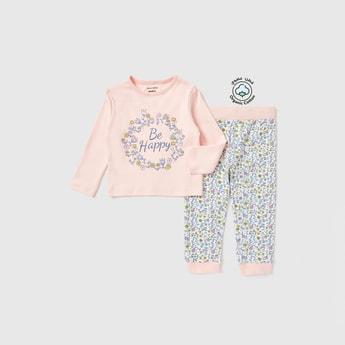 Graphic Print Long Sleeves T-shirt and Pyjama Set