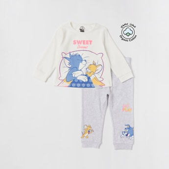 Set of 2 - Tom and Jerry Print T-shirt and Full Length Jog Pants