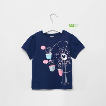 Giant Wheel Cat Print T-shirt with Round Neck and Short Sleeves