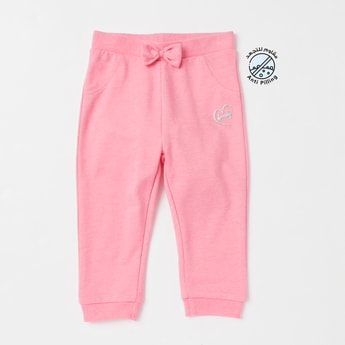 Solid Jog Pants with Elasticated Waistband and Bow Applique