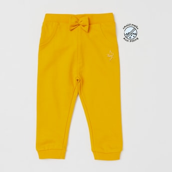 Solid Jog Pants with Bow Applique and Elasticised Waistband