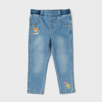 Solid Jeggings with Embroidery and Elasticised Waistband