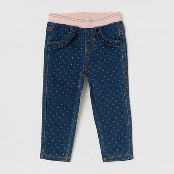 Polka Dots Print Jeggings with Pockets and Ruffle Detail