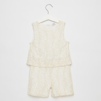 Lace Detail Sleeveless Jumpsuit with Round Neck