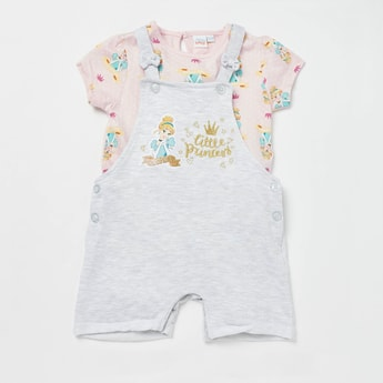 All-Over Princess Print T-shirt with Dungaree Set