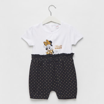 Minnie Mouse Print Round Neck Romper with Bow Accent and Short Sleeves
