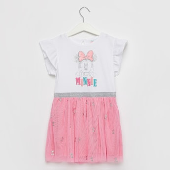 Minnie Mouse Print Dress with Round Neck