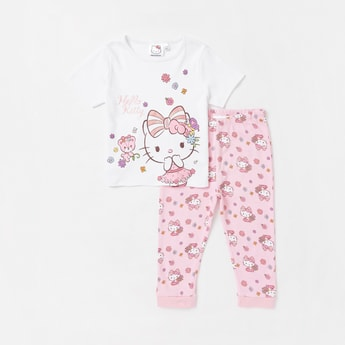 Hello Kitty Print Round Neck T-shirt and Full Length Leggings Set
