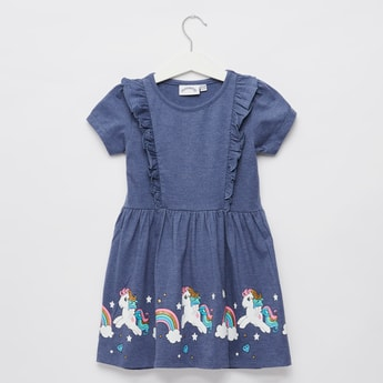 My Little Pony Graphic Print with Round Neck and Frill Detail
