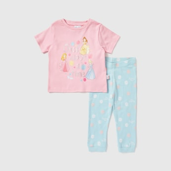 Disney Princess Print Round Neck T-shirt and Pyjama Set