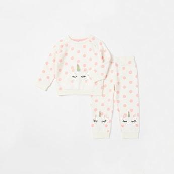 Unicorn Polka Dot Print Sweatshirt and Jog Pants Set