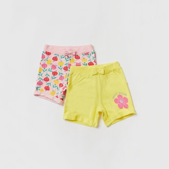 Floral Print Shorts with Elasticated Waistband - Set of 2