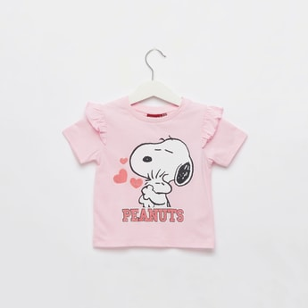 Peanuts Graphic Print T-shirt with Round Neck and Short Sleeves