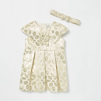 Bow Applique Detail Jacquard Dress with Headband
