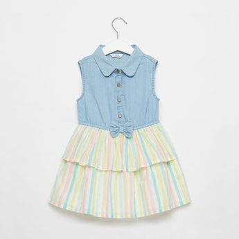 Striped Sleeveless Dress with Spread Collar and Bow Applique Detail