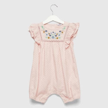 Floral Embroidered Detail Romper with Push Button Closure