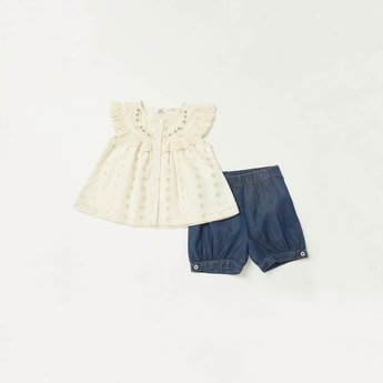 Embellished Cap Sleeves Top with Solid Denim Shorts Set