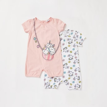 Set of 2 - Unicorn Printed Rompers with Round Neck and Short Sleeves