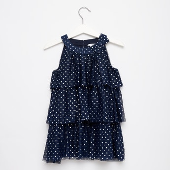 Polka Dot Knee-Length Layered Dress with Bow Accent