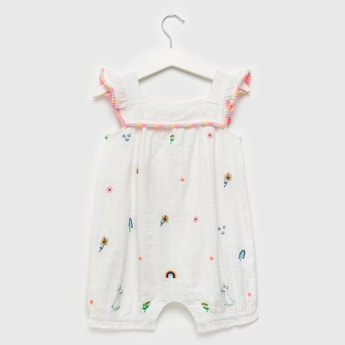 Embroidered and Pom Pom Detail Romper with Button Closure