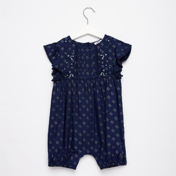 Foil Print Romper with Cap Sleeves and Button Closure