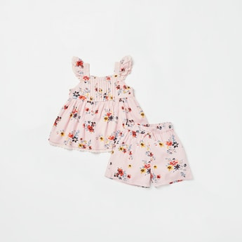 All-Over Floral Print Top with Shorts Set