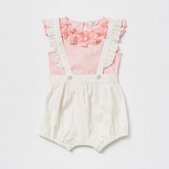 Flower Applique Detail T-shirt and Dungaree Set