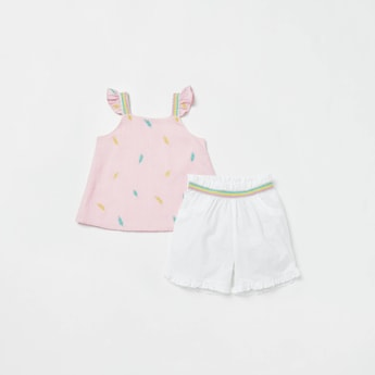 Printed Tape Detail Top and Shorts Set