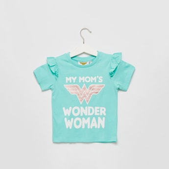 Wonder Woman Graphic Print T-shirt with Round Neck and Frill Detail