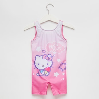 Hello Kitty Print Sleeveless Round Neck Swimsuit