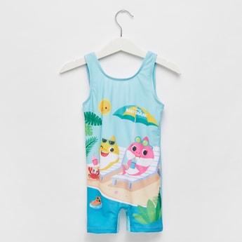 Shark Graphic Print Sleeveless Swimsuit