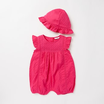 Textured Sleeveless Romper with Frill Detail Cap