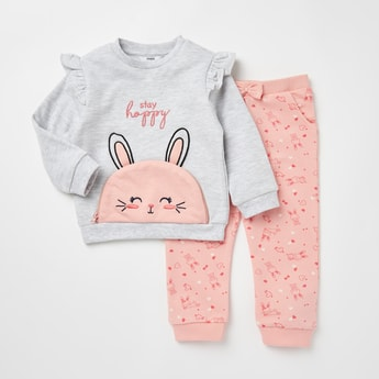 Applique Detail Long Sleeves T-shirt and Printed Pyjama Set