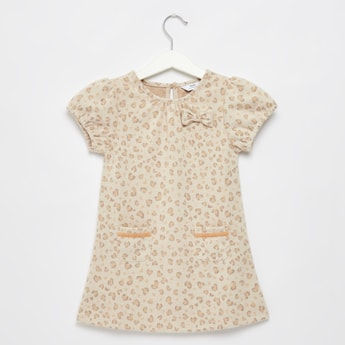 Printed Round Neck Knee Length Dress with Short Sleeves