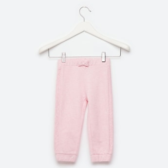 Textured Jog Pants with Elasticated Waistband and Bow Detail