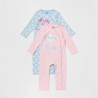 Set of 2 - Printed Sleepsuit with Round Neck and Long Sleeves