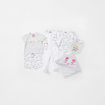 Cat Graphic Print 6-Piece Clothing Gift Set