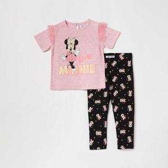 Minnie Mouse Print Short Sleeves T-shirt and Full-Length Pyjama Set