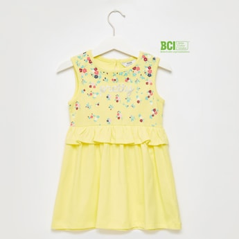 Floral Print Sleeveless Dress with Frill Detail and Keyhole Closure