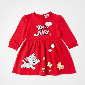 Tom and Jerry Print Dress with Button Closure