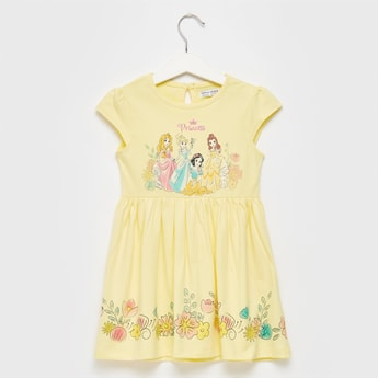 Disney Princess Graphic Print Dress with Round Neck and Cap Sleeves